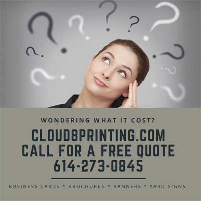 Free Quotes get cheap printing brochures, busiiness cards, postcards and yard signs. Cloud 8 Printing